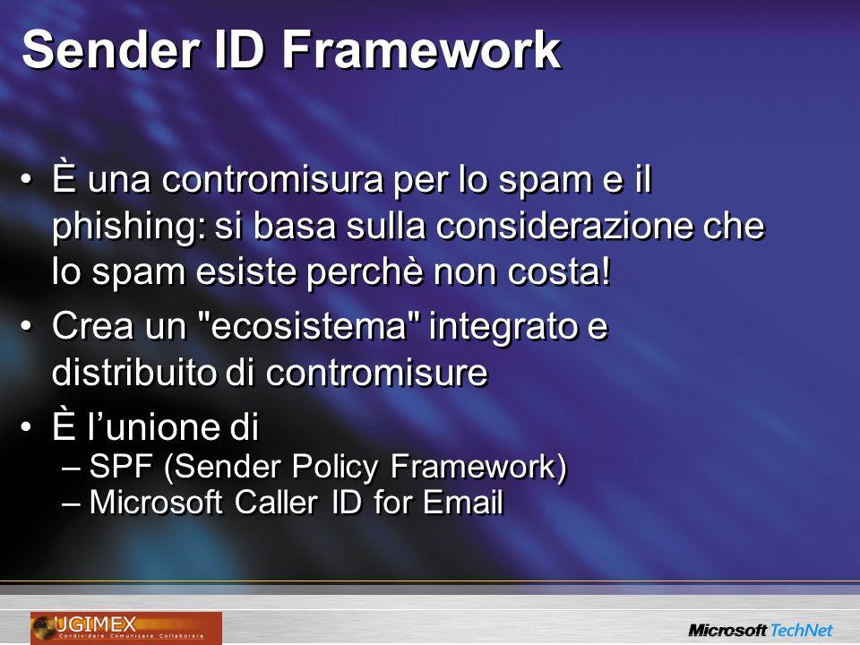 Sender ID Framework È una contromisura per lo spam e il phishing: si basa sulla considerazione che lo spam esiste perchè non costa!