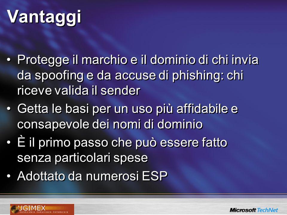 Vantaggi Protegge il marchio e il dominio di chi invia da spoofing e da accuse di phishing: chi riceve valida il sender.