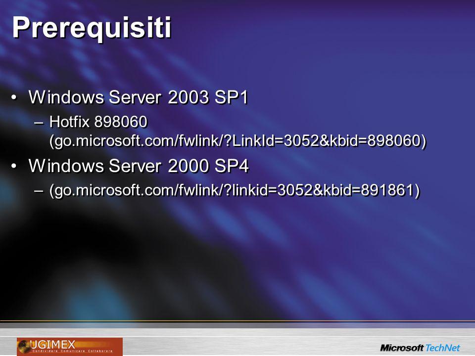 Prerequisiti Windows Server 2003 SP1 Windows Server 2000 SP4