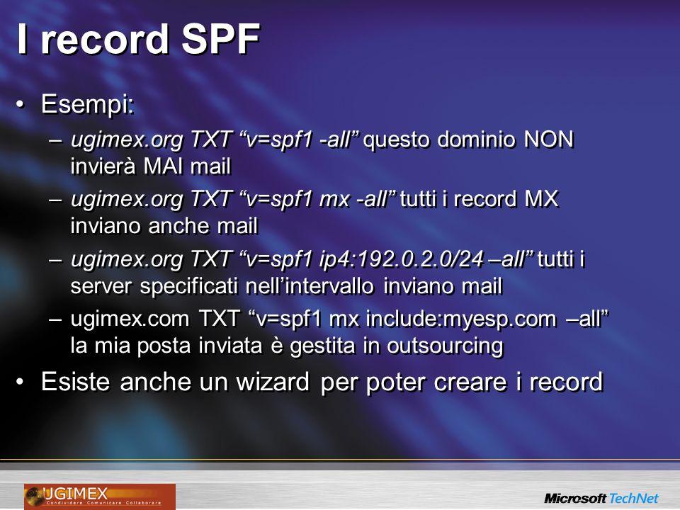 I record SPF Esempi: Esiste anche un wizard per poter creare i record
