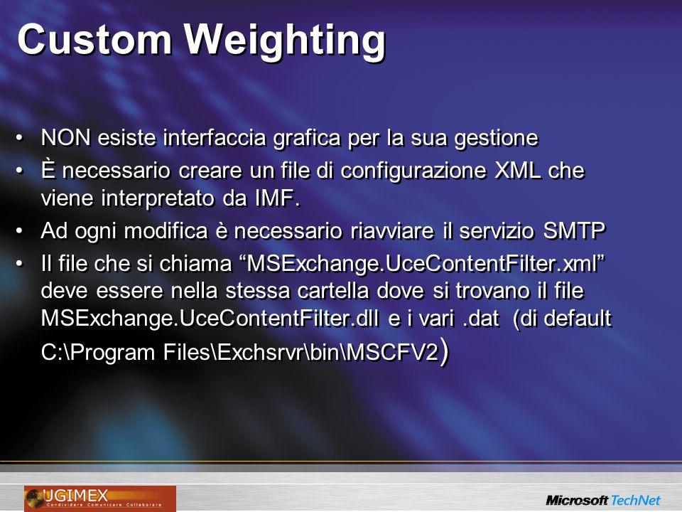 Custom Weighting NON esiste interfaccia grafica per la sua gestione