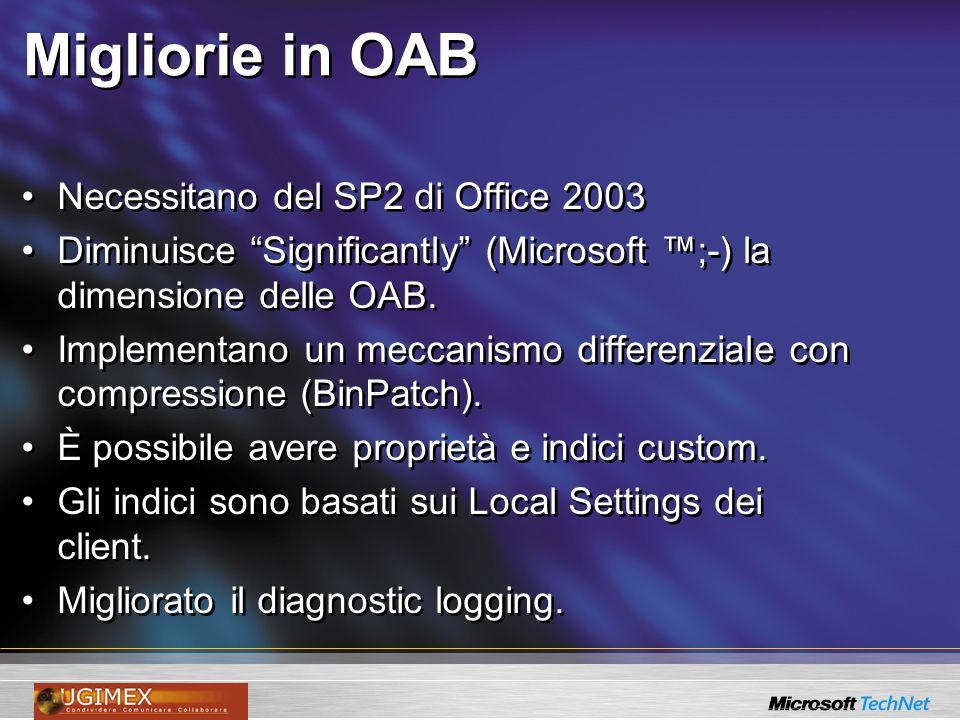Migliorie in OAB Necessitano del SP2 di Office 2003