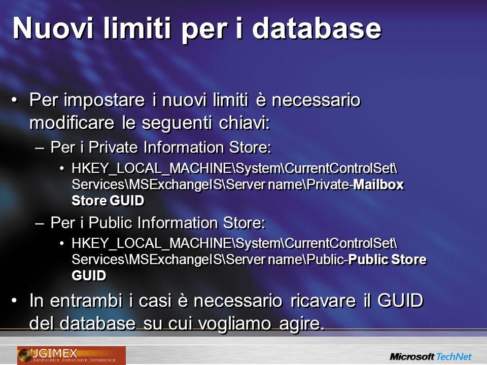 Nuovi limiti per i database