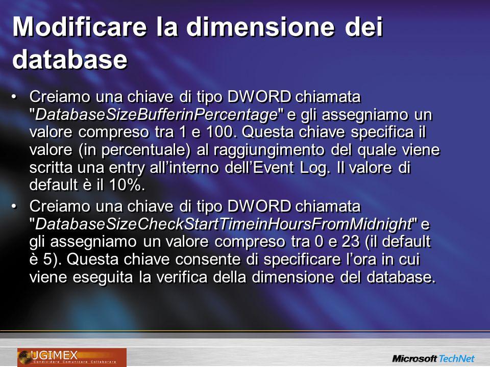 Modificare la dimensione dei database