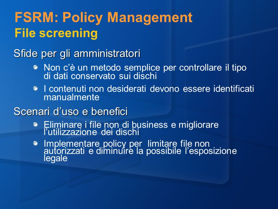 FSRM: Policy Management File screening