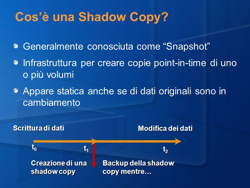 Cos'è una Shadow Copy Generalmente conosciuta come Snapshot