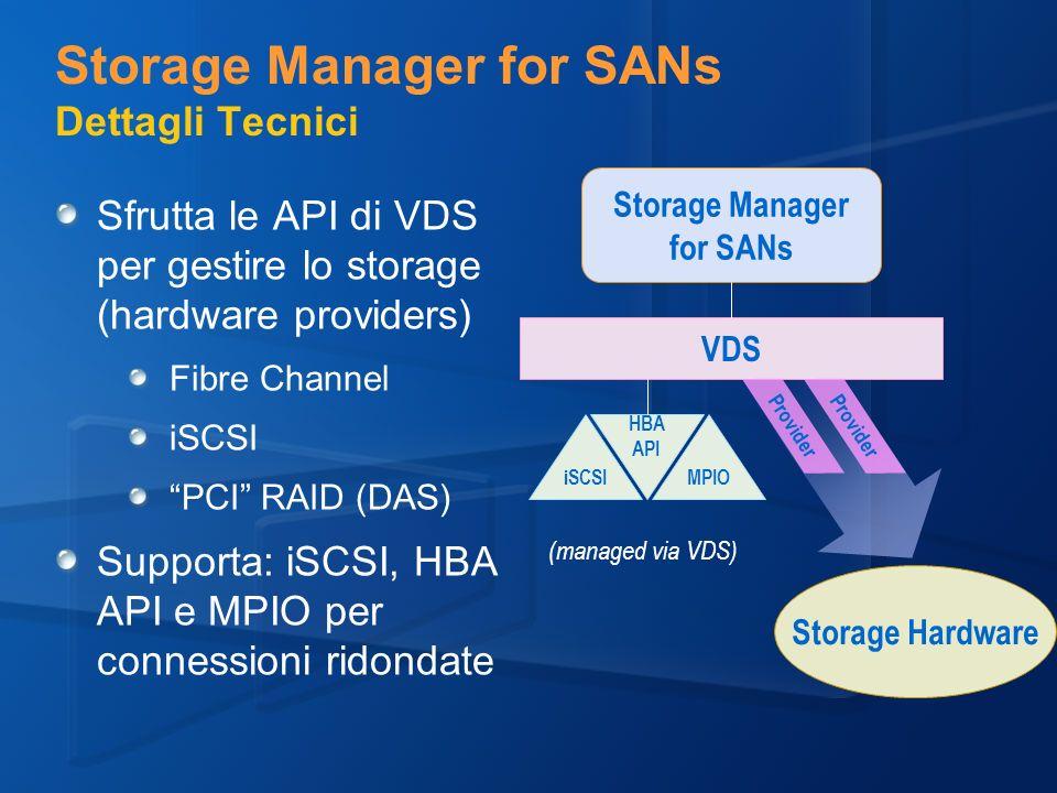 Storage Manager for SANs Dettagli Tecnici