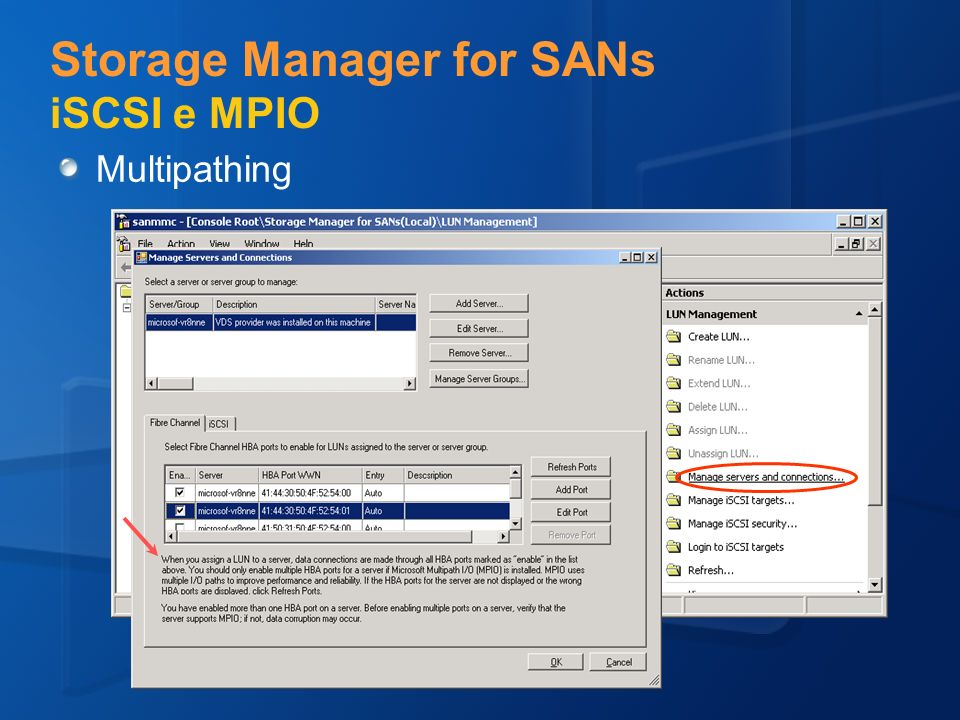 Storage Manager for SANs iSCSI e MPIO