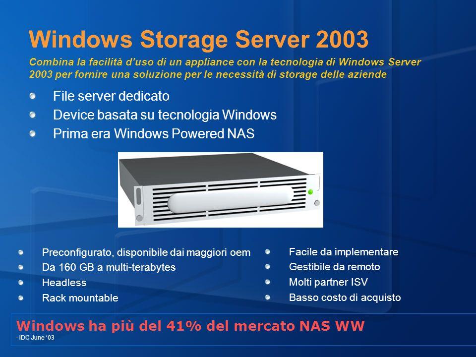 Windows Storage Server 2003 Combina la facilità d'uso di un appliance con la tecnologia di Windows Server 2003 per fornire una soluzione per le necessità di storage delle aziende