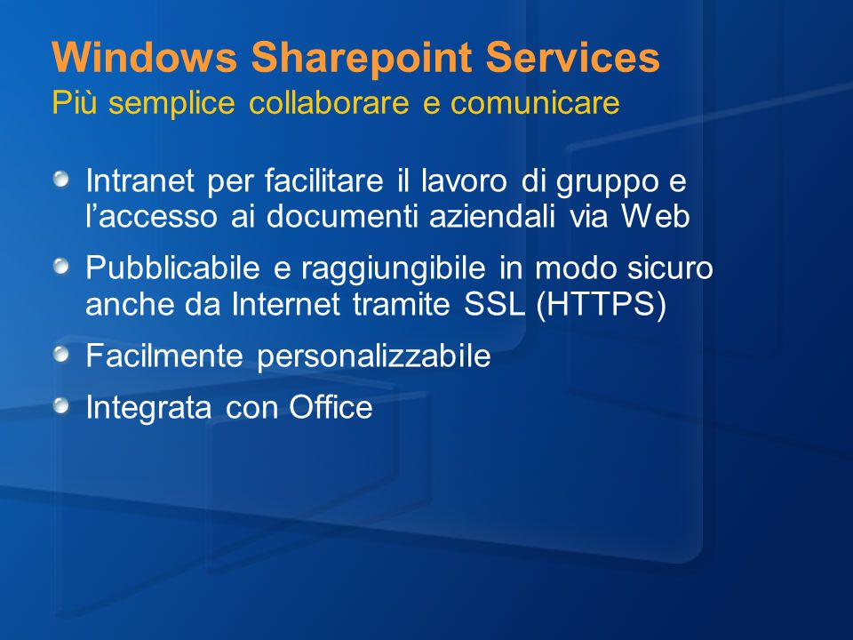 Windows Sharepoint Services Più semplice collaborare e comunicare