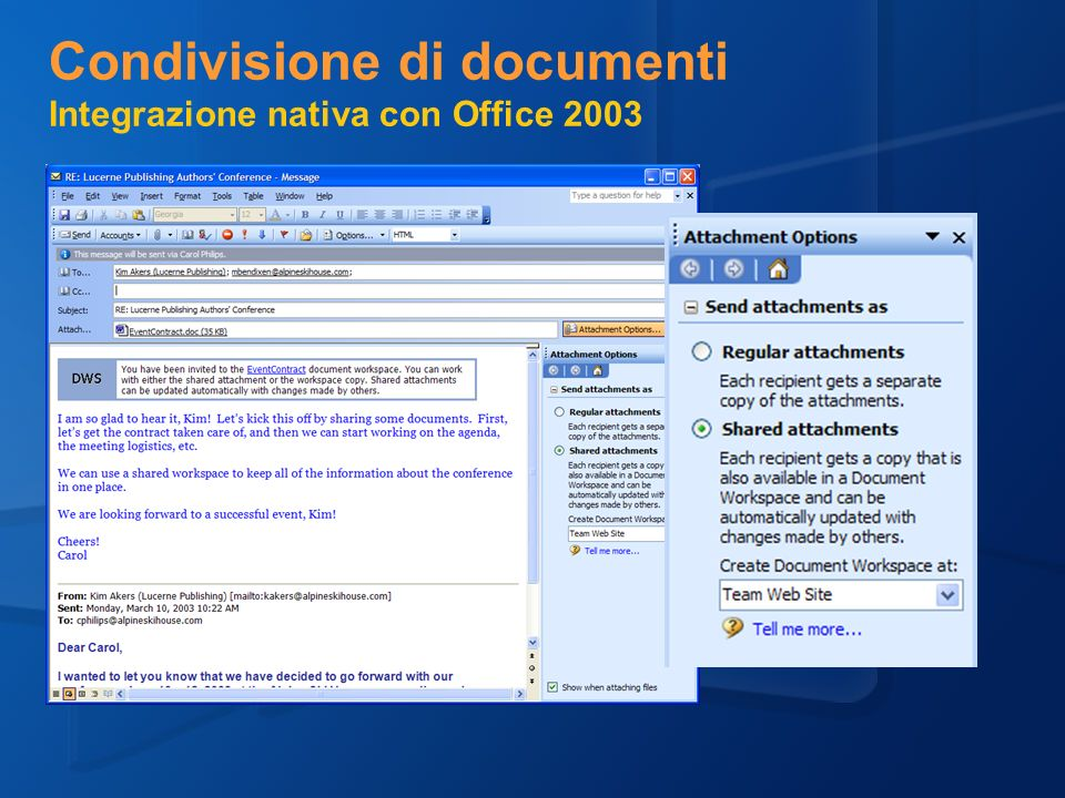 Condivisione di documenti Integrazione nativa con Office 2003