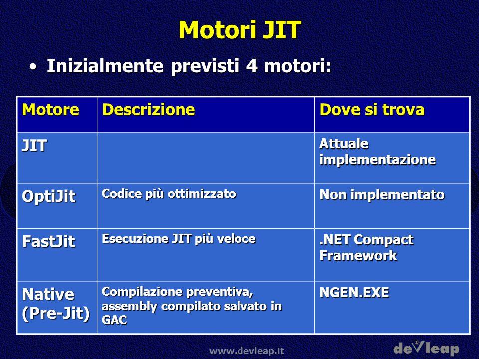 Motori JIT Inizialmente previsti 4 motori: Motore Descrizione