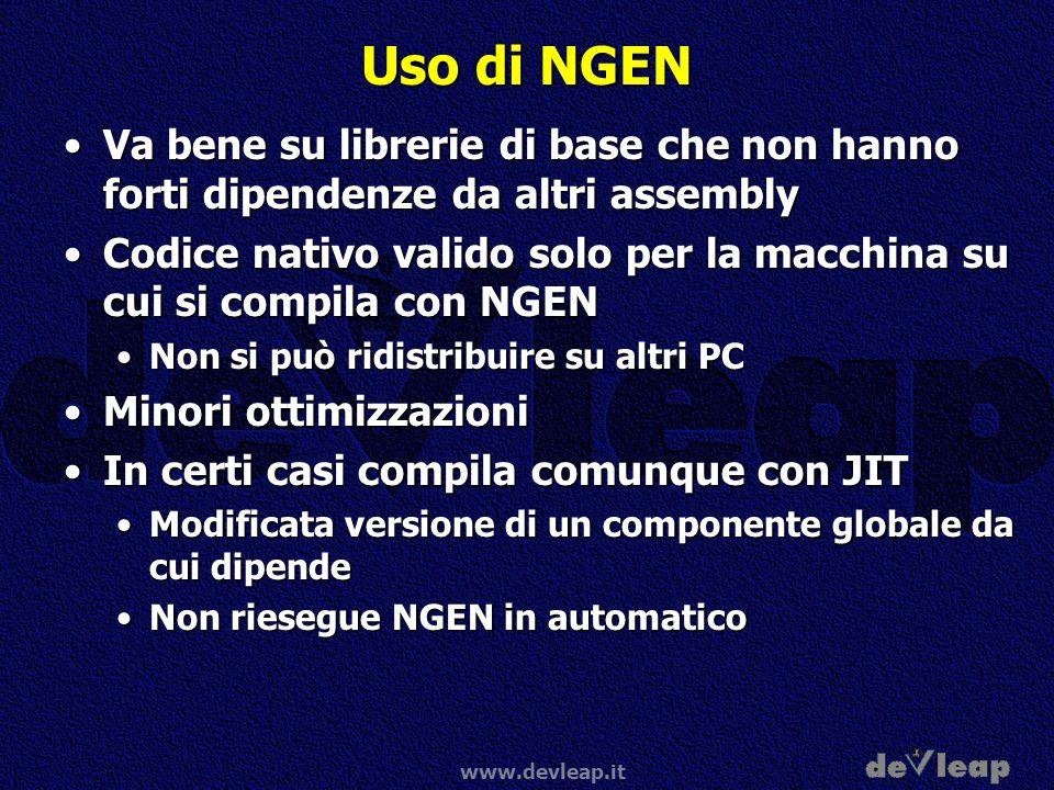 Uso di NGEN Va bene su librerie di base che non hanno forti dipendenze da altri assembly.