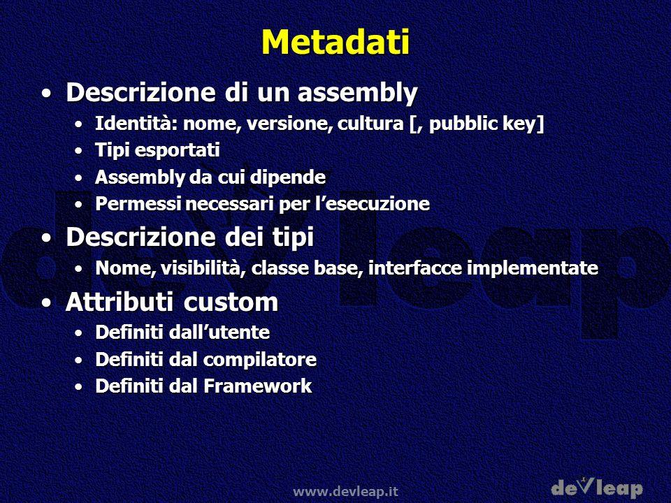 Metadati Descrizione di un assembly Descrizione dei tipi