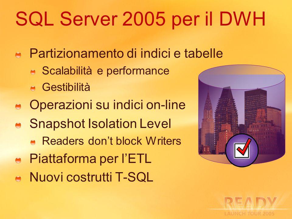 SQL Server 2005 per il DWH Partizionamento di indici e tabelle
