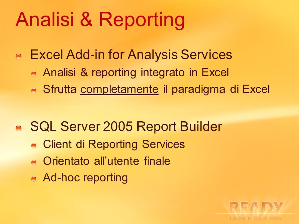Analisi & Reporting Excel Add-in for Analysis Services