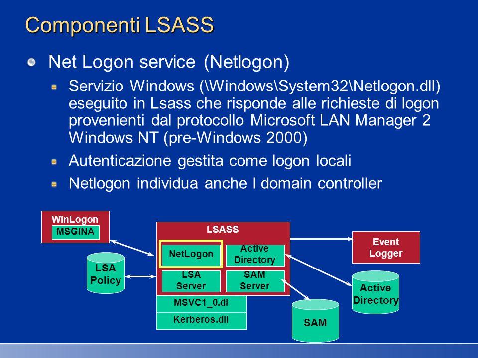 Componenti LSASS Net Logon service (Netlogon)