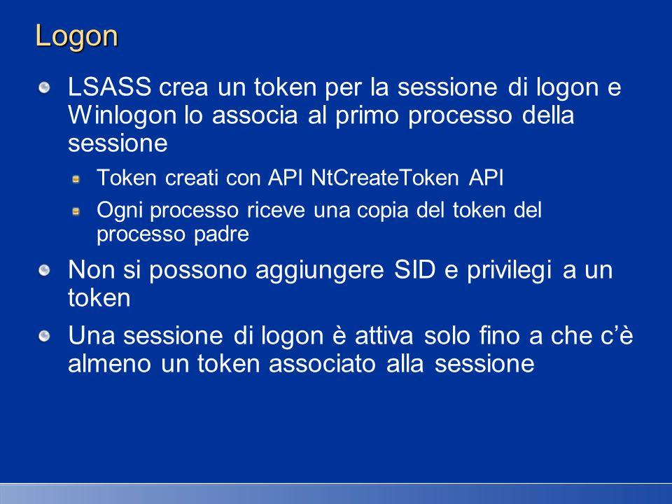 27/03/2017 2:27 AM Logon. LSASS crea un token per la sessione di logon e Winlogon lo associa al primo processo della sessione.