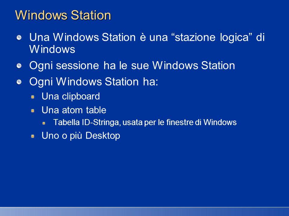 Windows Station Una Windows Station è una stazione logica di Windows