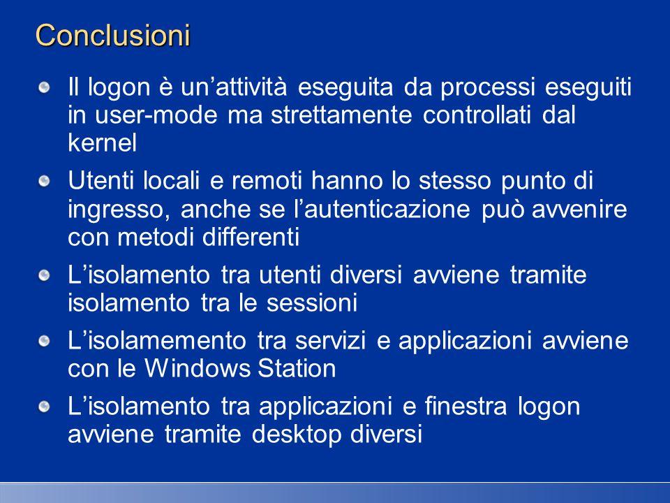 27/03/2017 2:27 AM Conclusioni. Il logon è un'attività eseguita da processi eseguiti in user-mode ma strettamente controllati dal kernel.