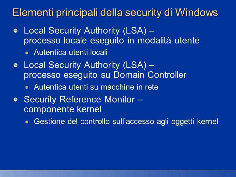Elementi principali della security di Windows
