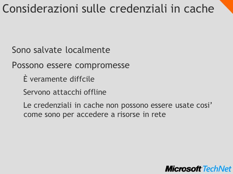 Considerazioni sulle credenziali in cache