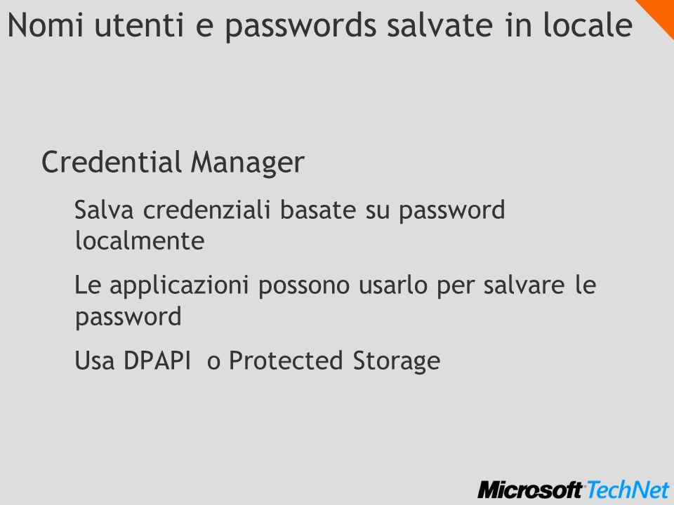 Nomi utenti e passwords salvate in locale
