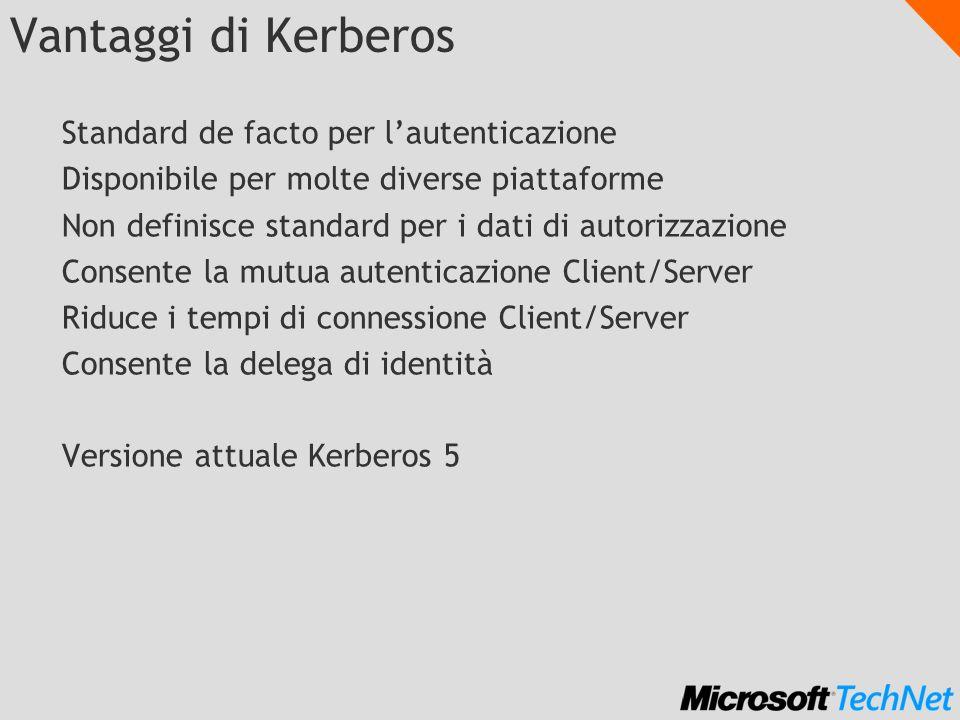 Vantaggi di Kerberos Standard de facto per l'autenticazione