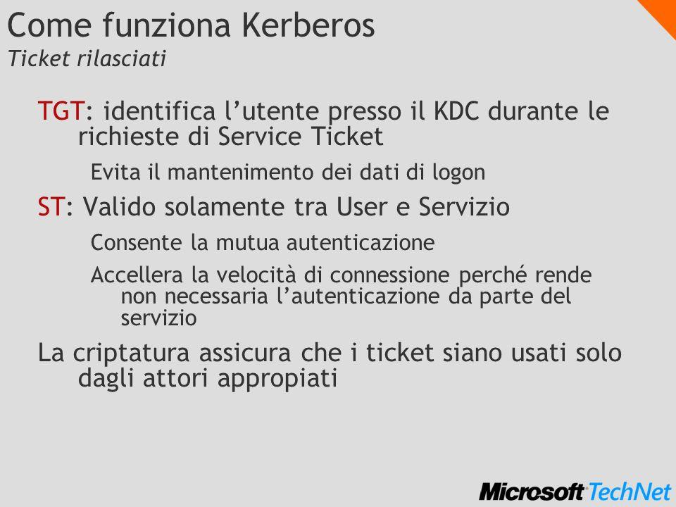 Come funziona Kerberos Ticket rilasciati