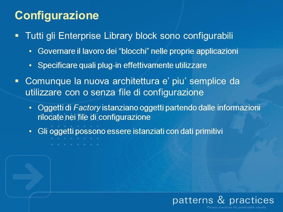 Configurazione Tutti gli Enterprise Library block sono configurabili