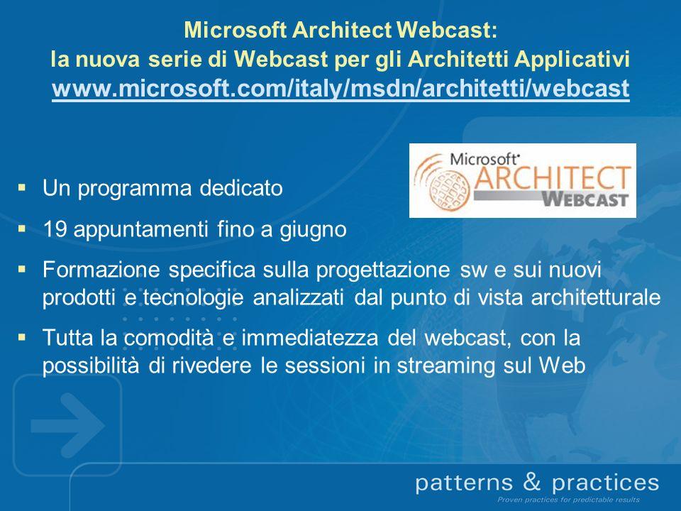 Microsoft Architect Webcast: la nuova serie di Webcast per gli Architetti Applicativi www.microsoft.com/italy/msdn/architetti/webcast