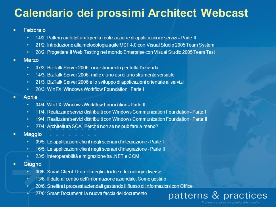 Calendario dei prossimi Architect Webcast