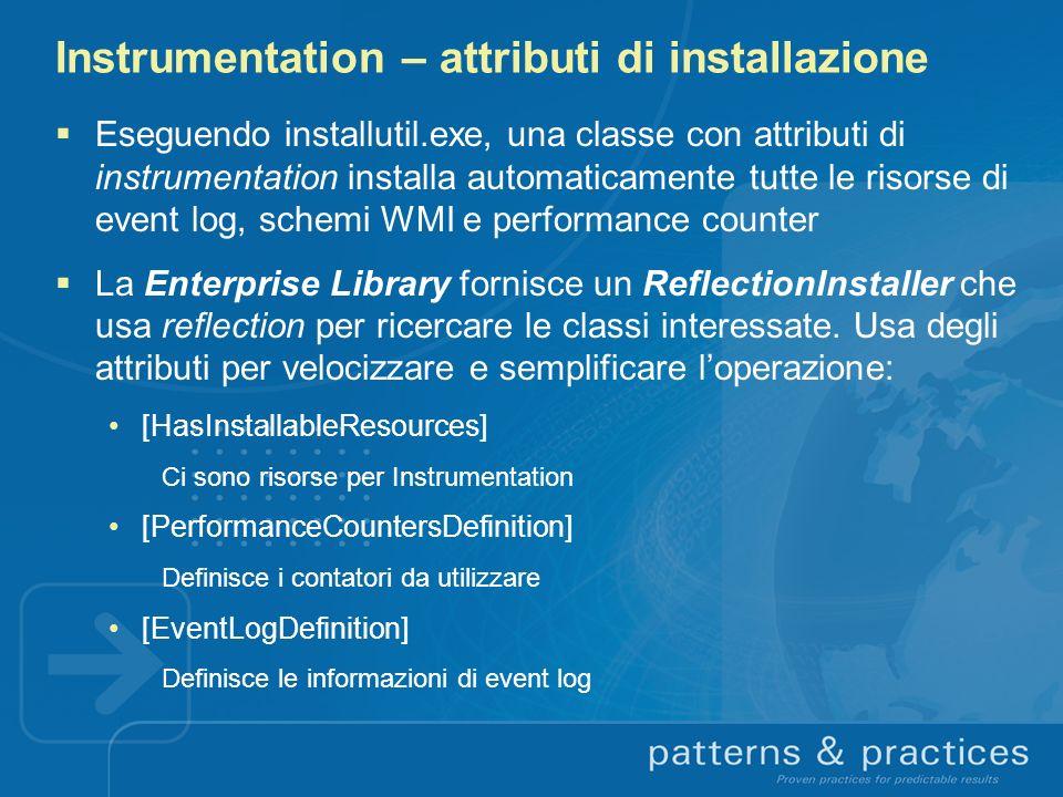 Instrumentation – attributi di installazione