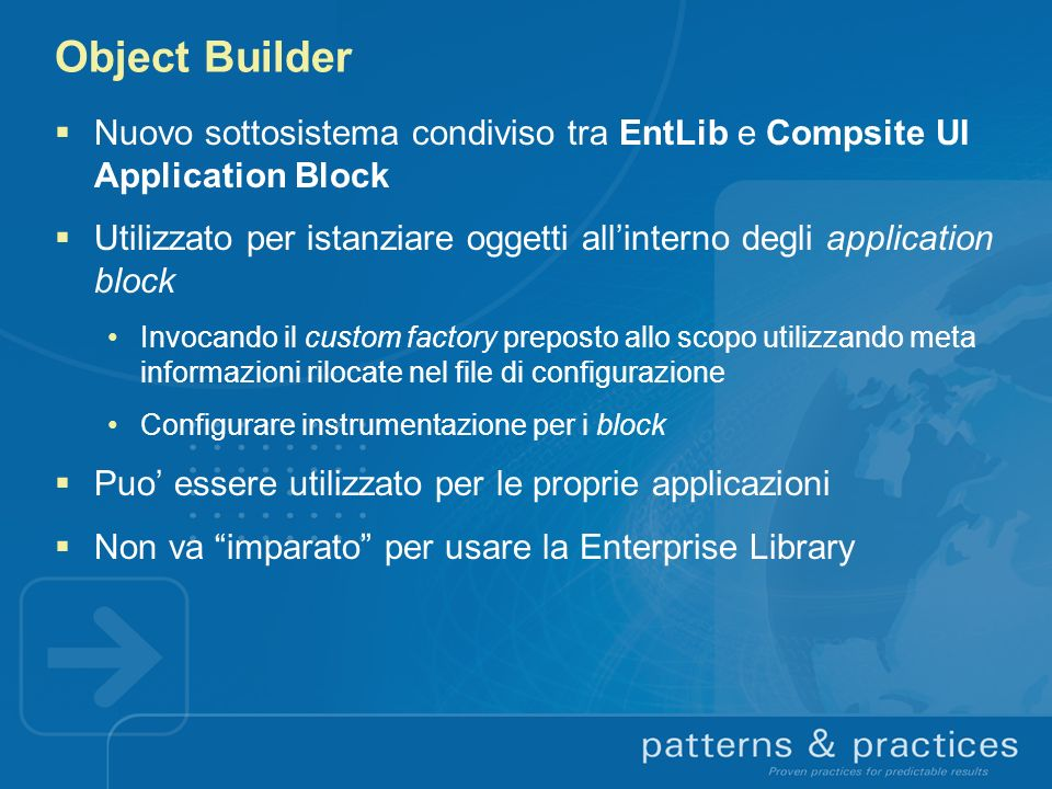 Object Builder Nuovo sottosistema condiviso tra EntLib e Compsite UI Application Block.