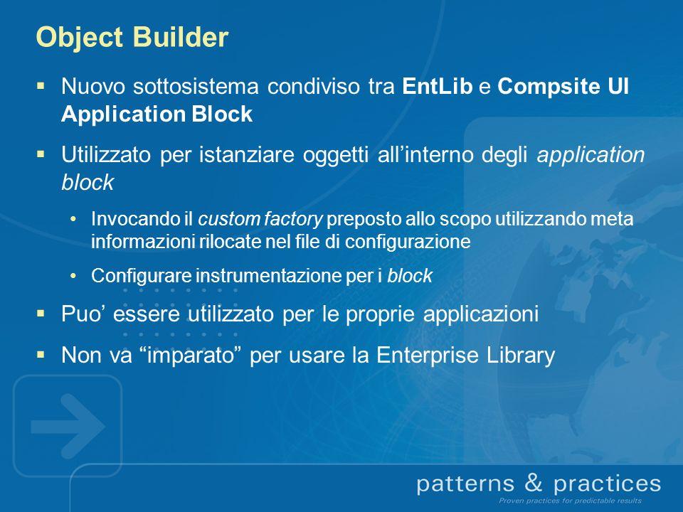 Object Builder Nuovo sottosistema condiviso tra EntLib e Compsite UI Application Block.