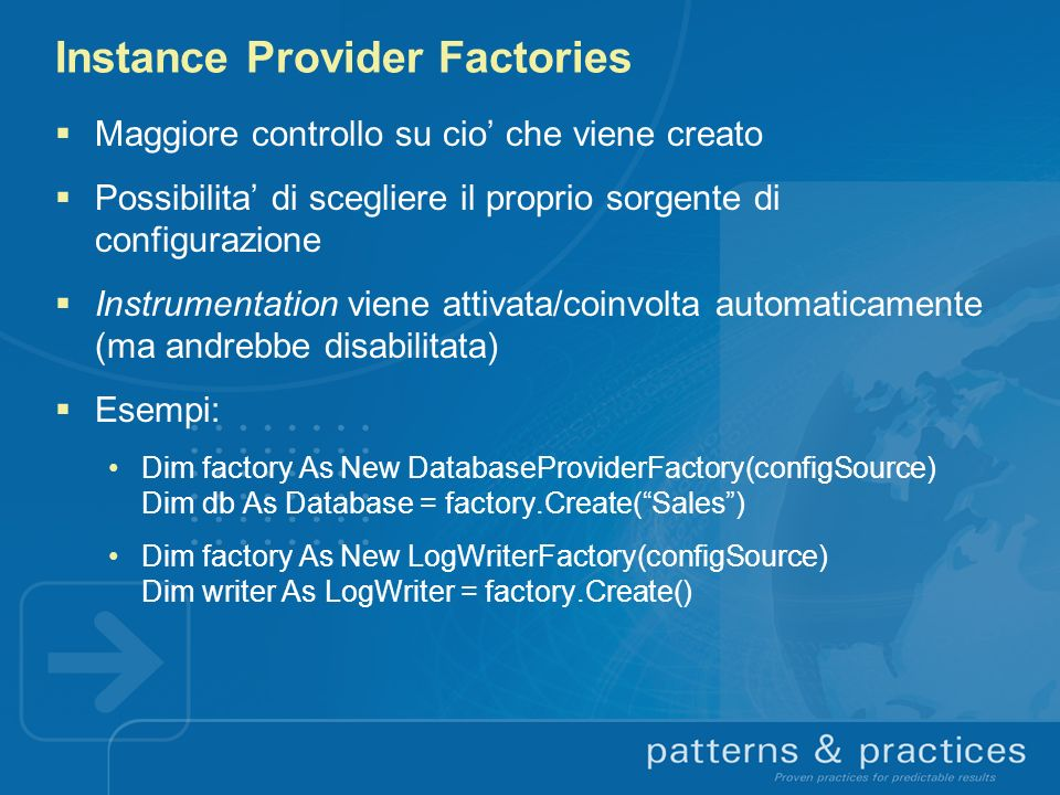Instance Provider Factories