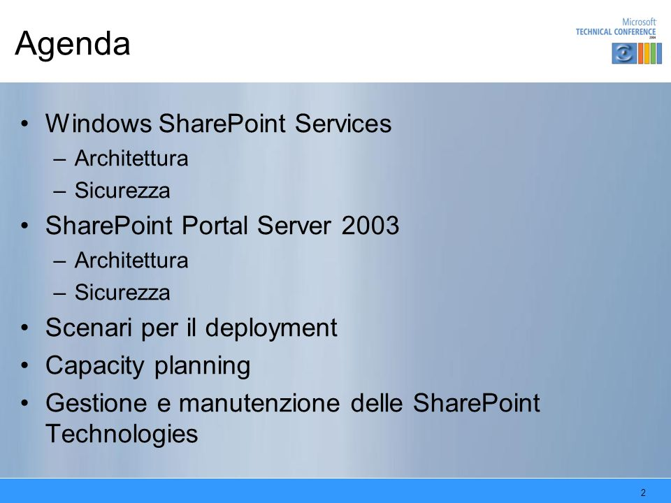 Agenda Windows SharePoint Services SharePoint Portal Server 2003