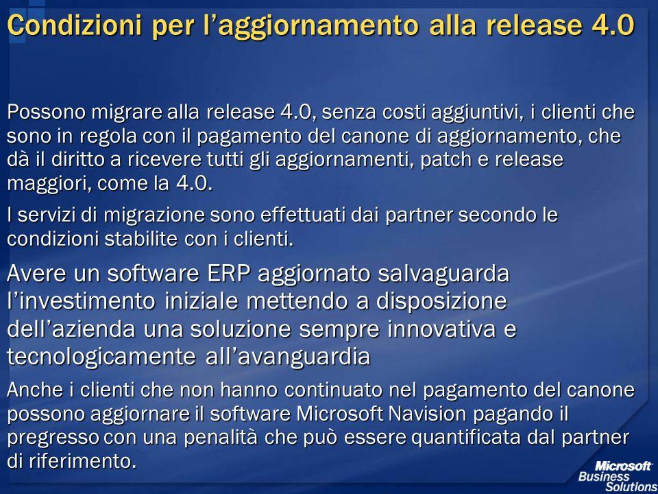 Condizioni per l'aggiornamento alla release 4.0