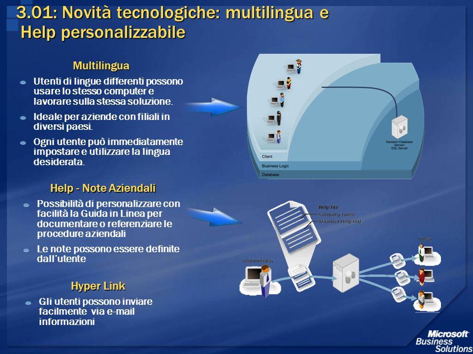 3.01: Novità tecnologiche: multilingua e Help personalizzabile
