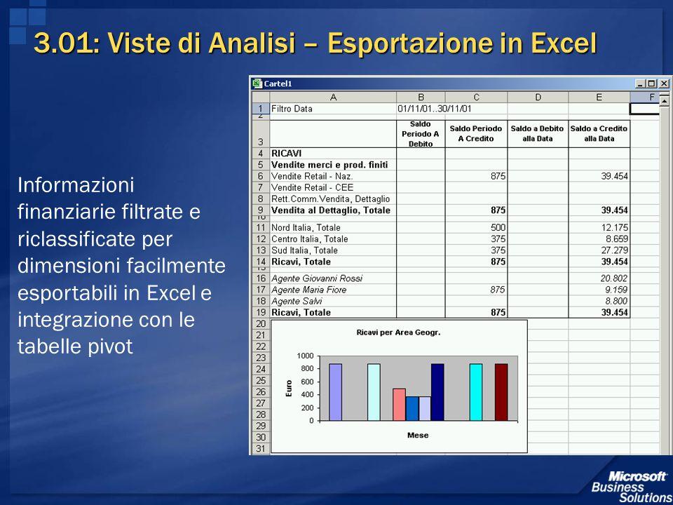 3.01: Viste di Analisi – Esportazione in Excel