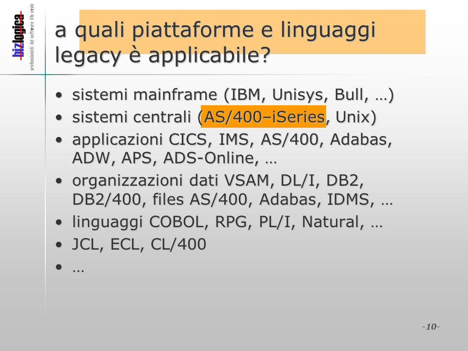 a quali piattaforme e linguaggi legacy è applicabile