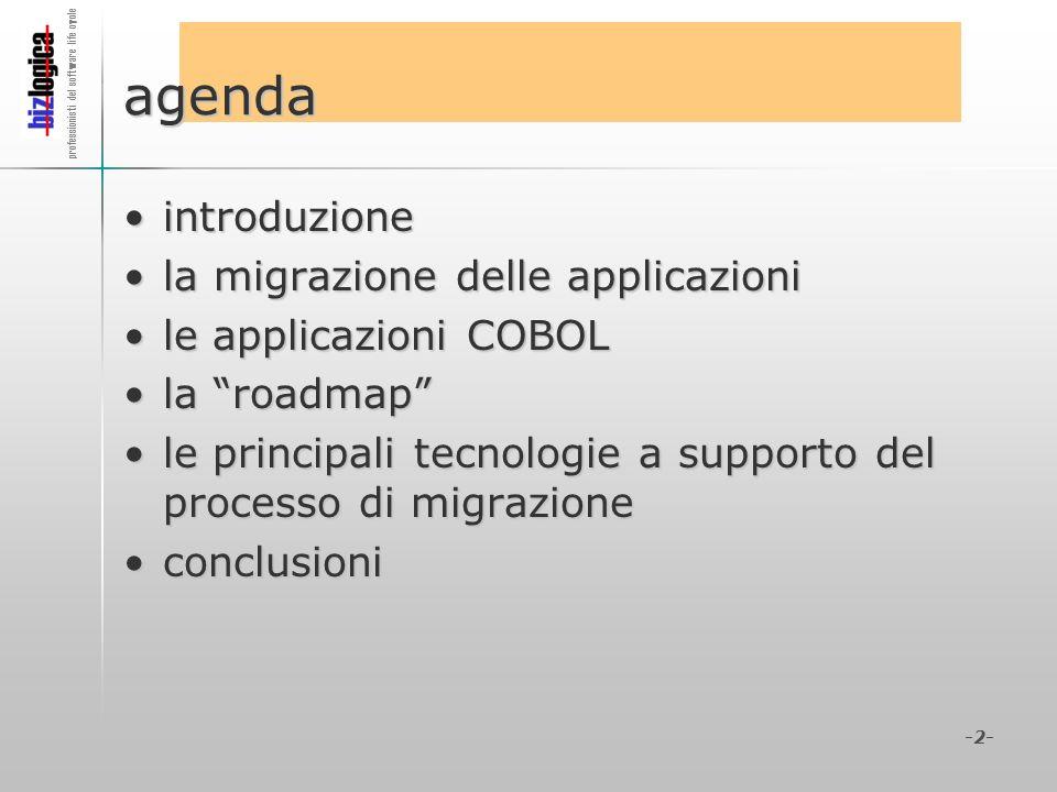 agenda introduzione la migrazione delle applicazioni