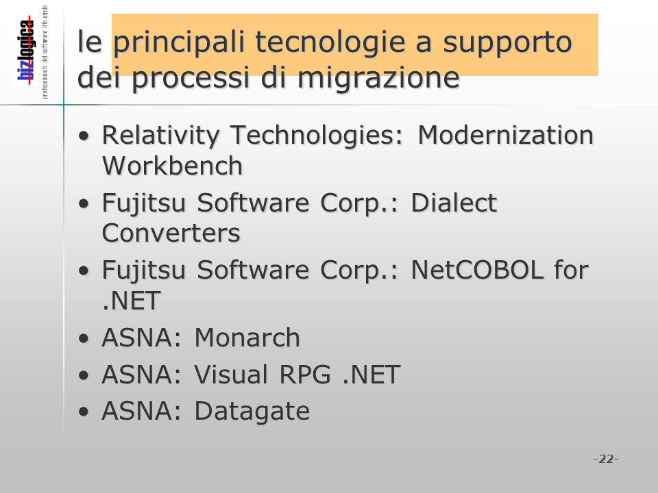 le principali tecnologie a supporto dei processi di migrazione
