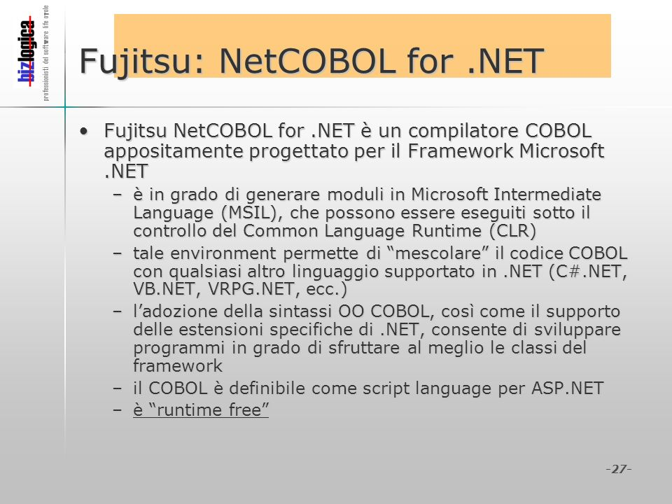 Fujitsu: NetCOBOL for .NET