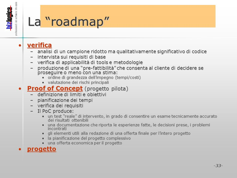 La roadmap verifica Proof of Concept (progetto pilota) progetto
