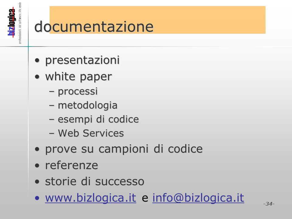 documentazione presentazioni white paper prove su campioni di codice