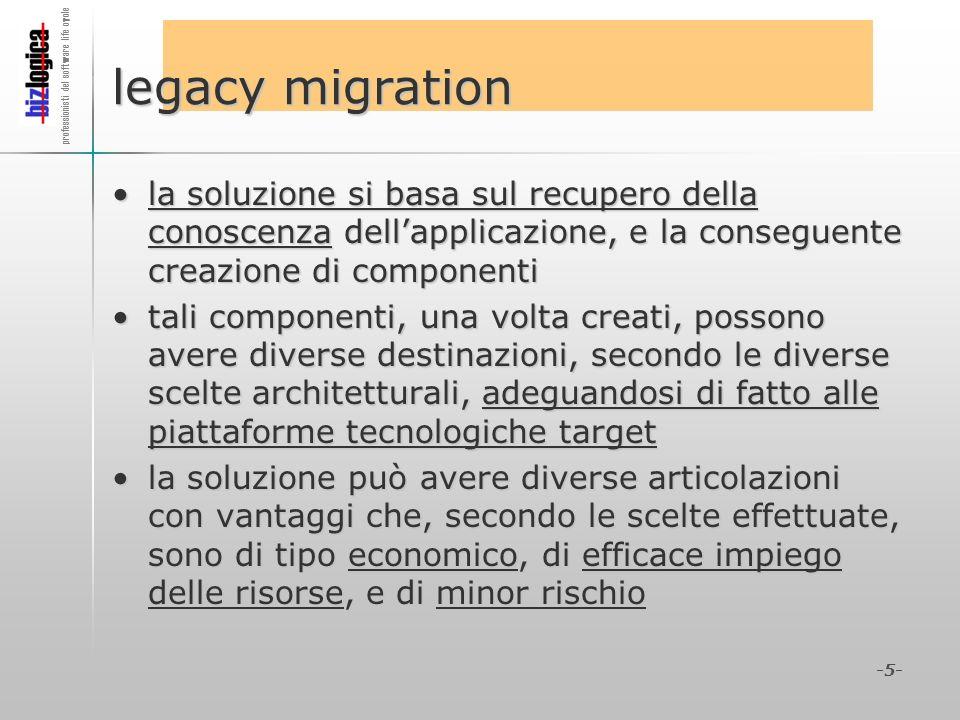 legacy migration la soluzione si basa sul recupero della conoscenza dell'applicazione, e la conseguente creazione di componenti.