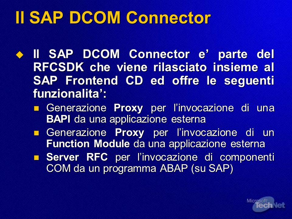 Il SAP DCOM Connector Il SAP DCOM Connector e' parte del RFCSDK che viene rilasciato insieme al SAP Frontend CD ed offre le seguenti funzionalita':
