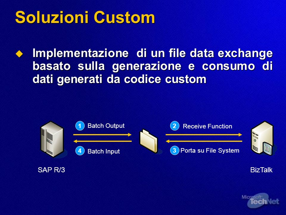 Soluzioni Custom Implementazione di un file data exchange basato sulla generazione e consumo di dati generati da codice custom.