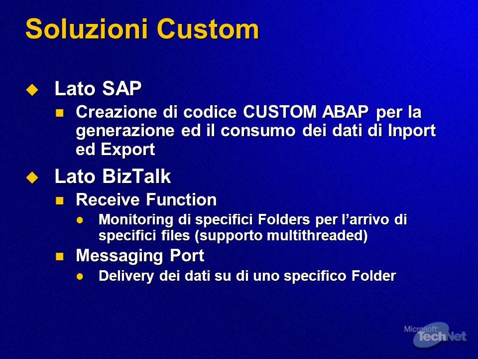 Soluzioni Custom Lato SAP Lato BizTalk